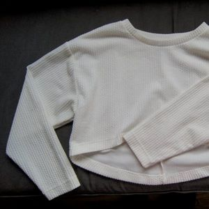 Forever21 Cropped White Long Sleeve Top, Size S